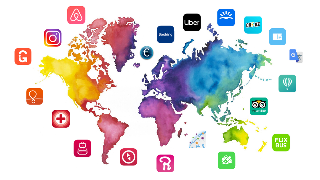 travel world map with mobile application icons