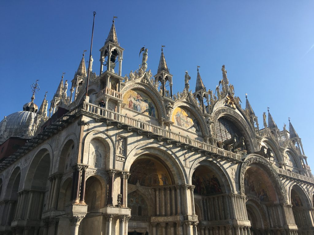 outdoor architecture of the facade of St. Mark's Basilica - Venice