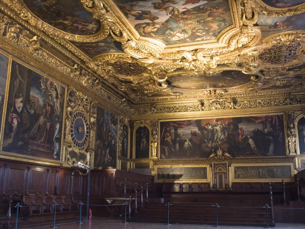 Interior design of Doge's Palace with ceiling paintings