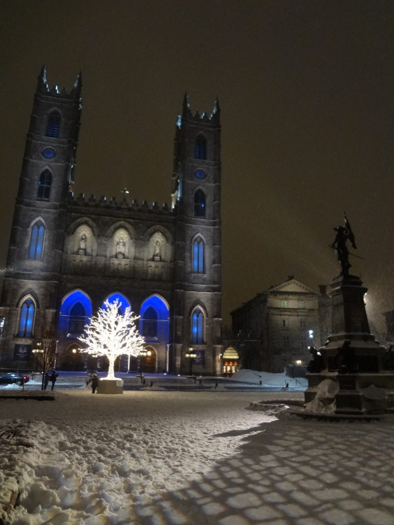 night view of Notre Dame Basilica of Montreal