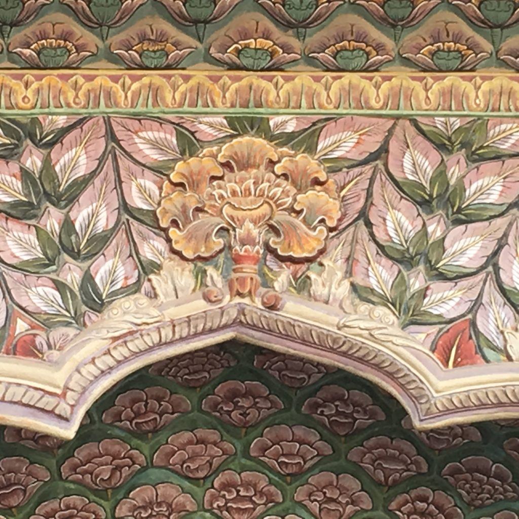 floral decor on the door of Jaipur City Palace