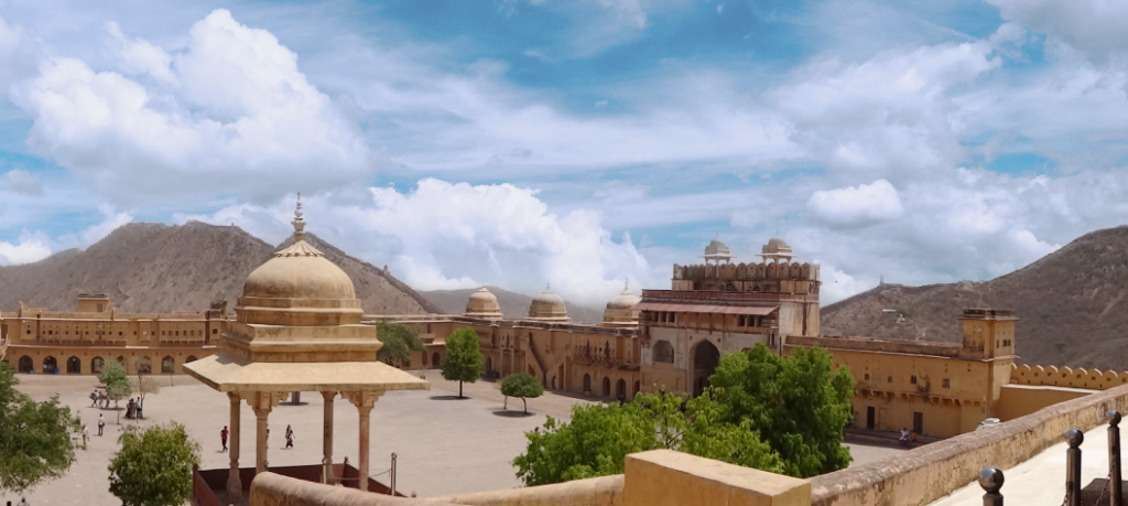 one of the best place to see in Jaipur - iew from the main courtyard at Amber Fort