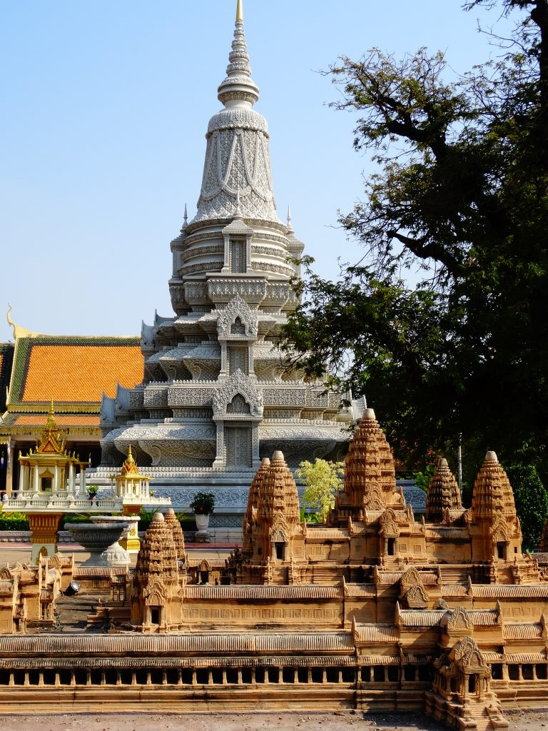 the silver pagoda and the replica of Angkor Wat in the royal palace in Phnom Penh