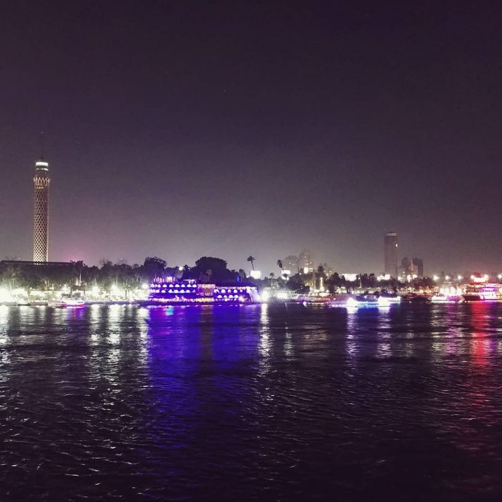 nile view by night with cairo tower