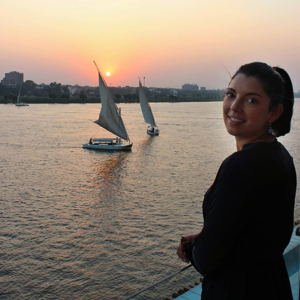 sunset view from the deck of Blue Nile Boat in maadi Cairo