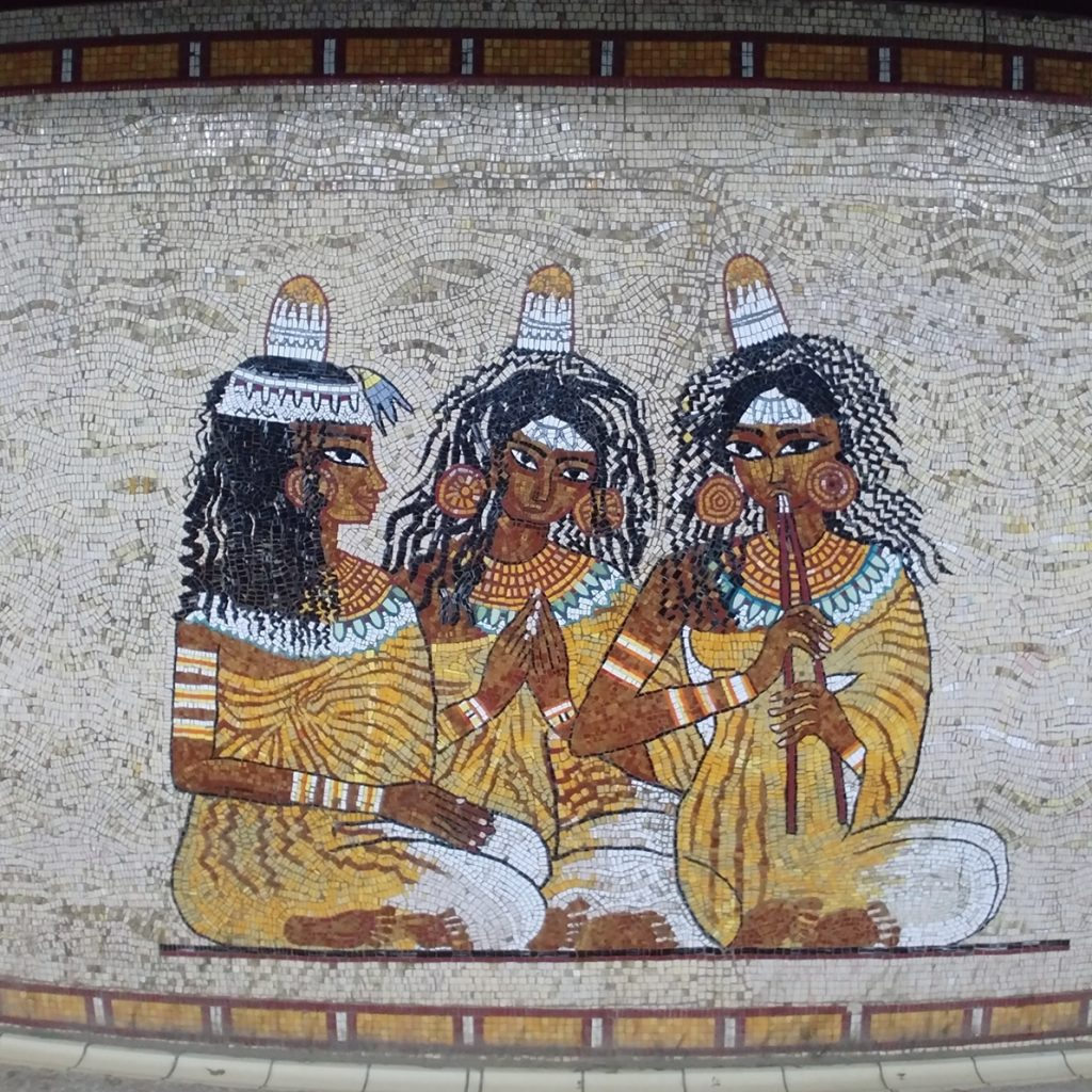 egytpian musician mosaic in cairo metro station