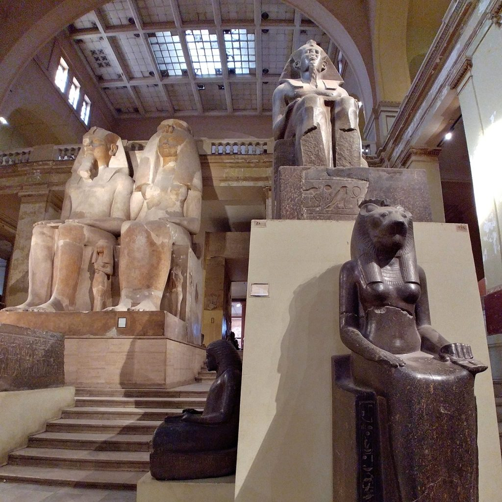 cairo egyptian museum statues in the main hall