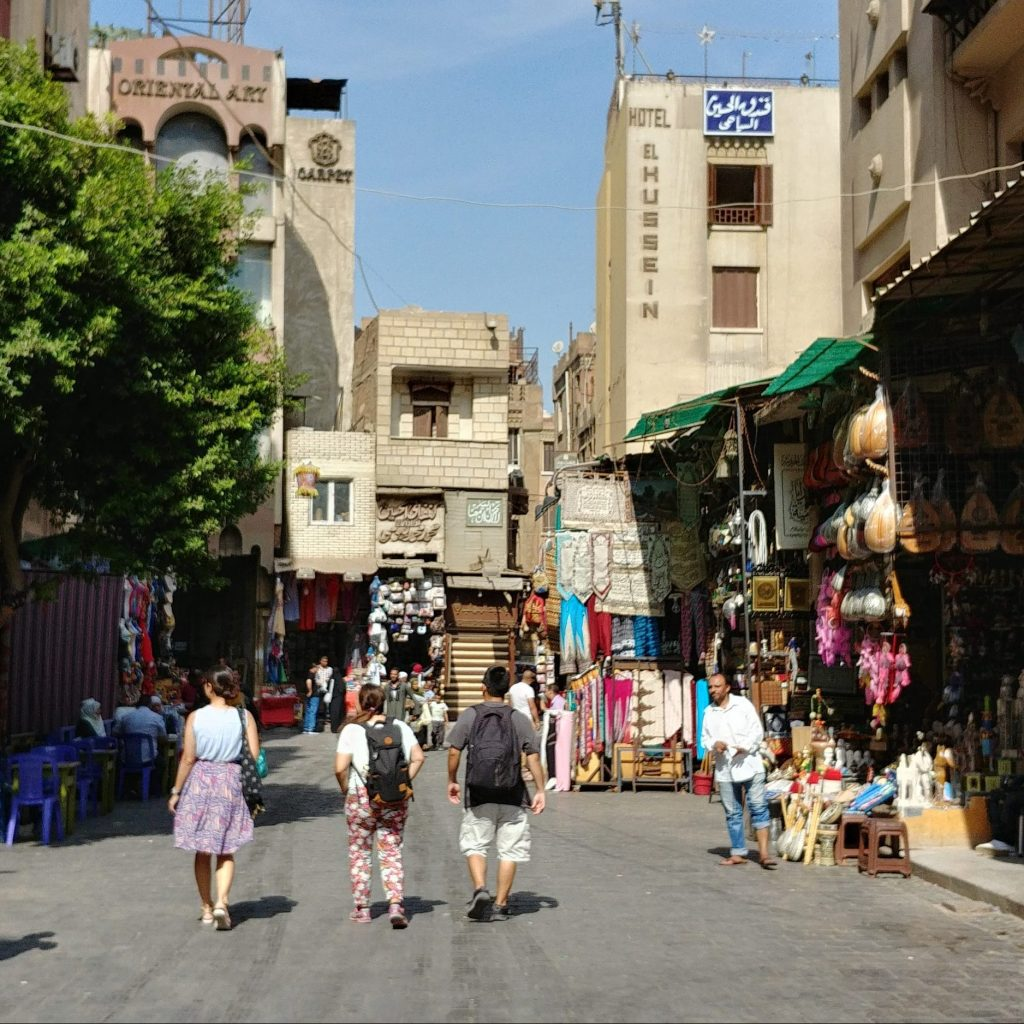 market street at khan el khalili souq in cairo