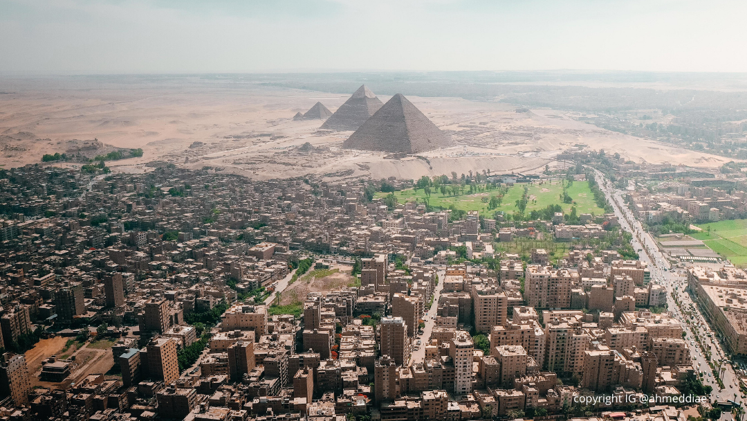 aerial view of the pyramids of giza