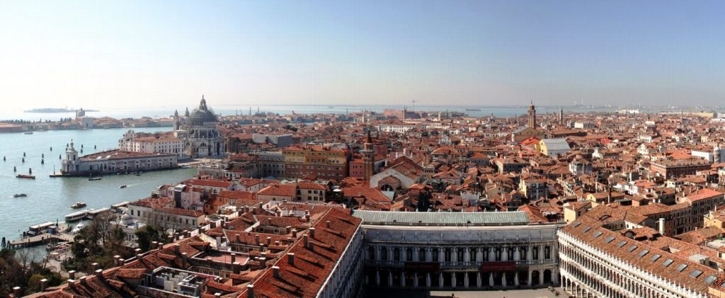 panoramic view from the top of St. Mark's Campanile in Venice