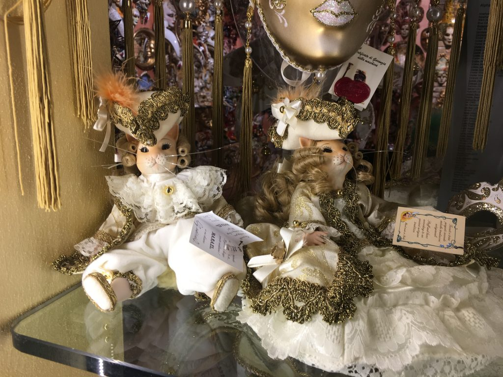 cat puppets with venetian carnival outfit