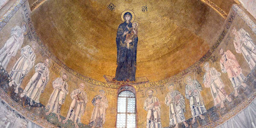 paintings inside the main dome of ste marie basilica in Torcello island