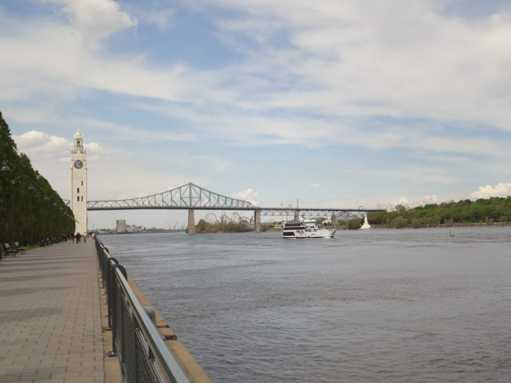 View of St Laurent river along the Clock Tower in Montreal