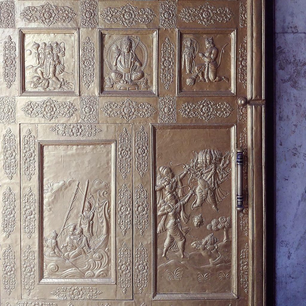 the golden door is engraved with scenes from the ramayana