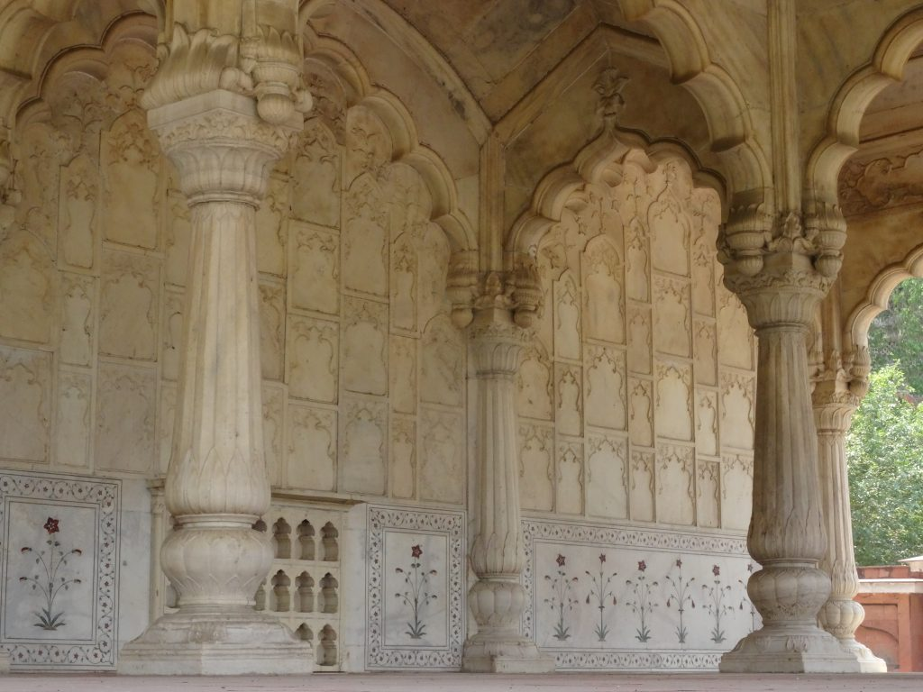 marble architecture inside the Red Fort in Delhi
