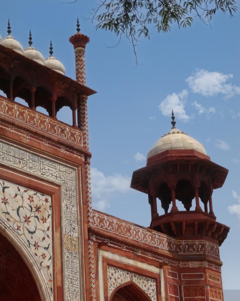 wall details on the main entrance gate at the Taj Mahal