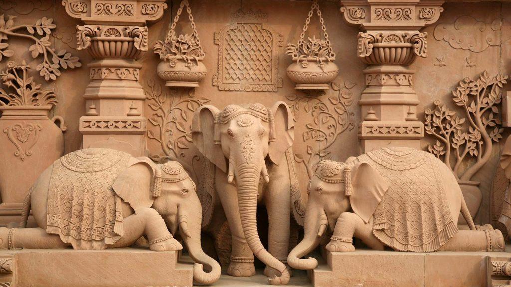 elephants' sculptures around the Akshardham Temple