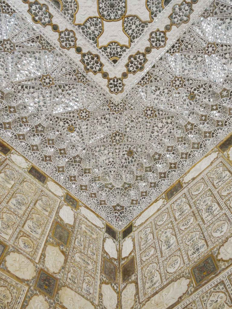 ceiling details inside Amber Fort