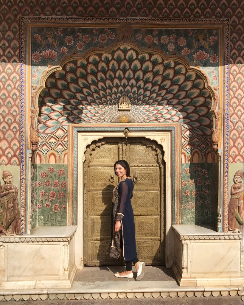 one of the door of the 4 seasons in the courtyard of the City Palace in Jaipur