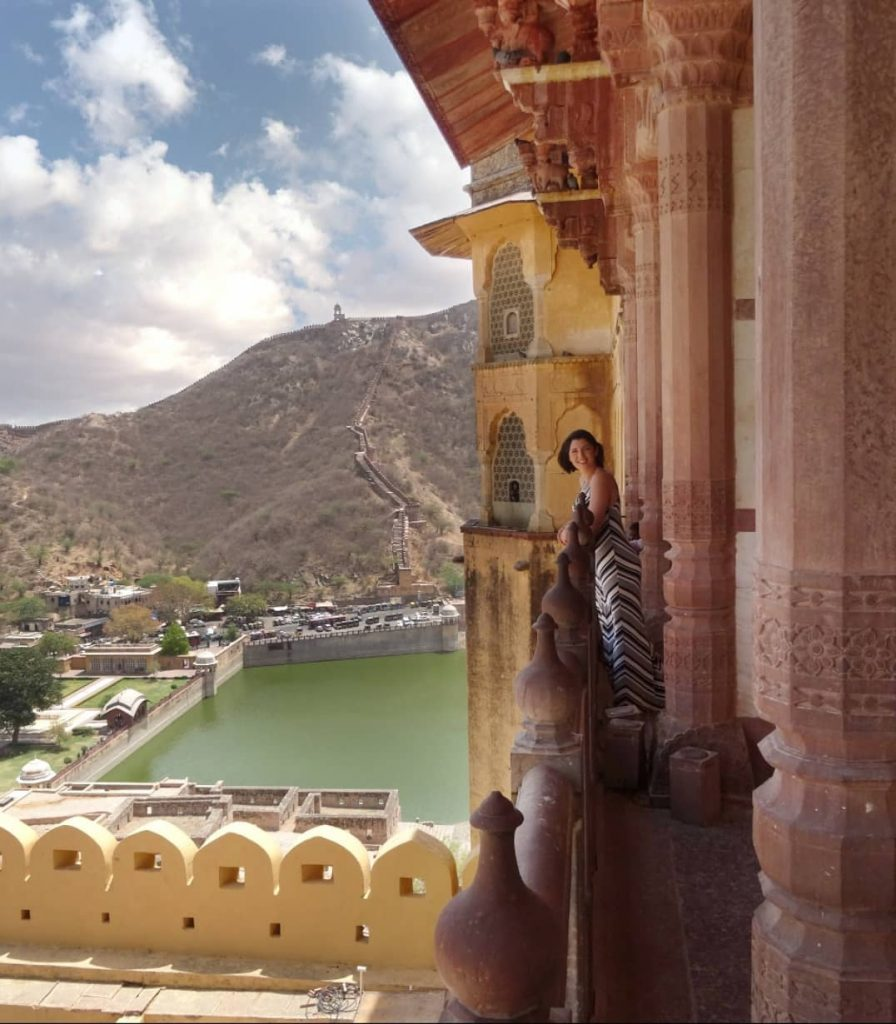a panoramic view of the surroundings from the top of Amber Fort