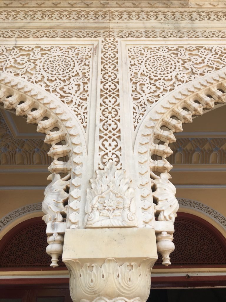 marble details on the city palace