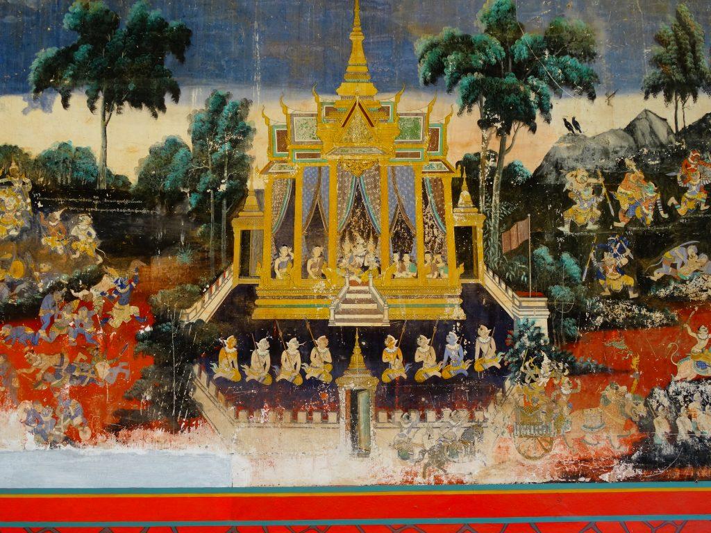 an authentic murals describing khmer myths and legends