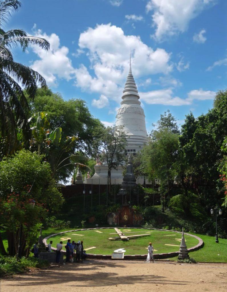 royal stupa and big clock at the Wat Phnom